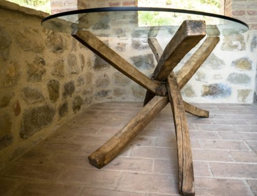 Handcrafted wooden table, large, cristal top