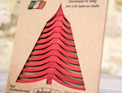 Albero di Natale in legno ALBERTINO, rosso box