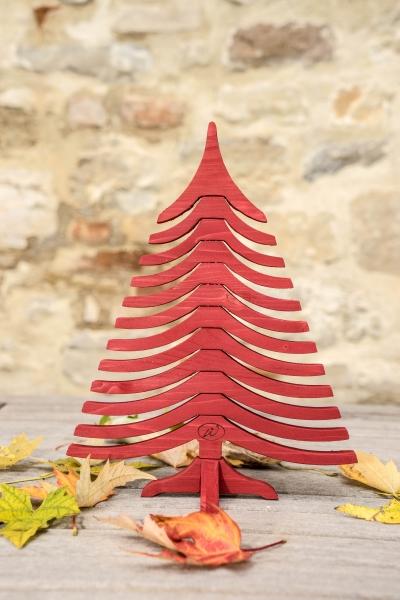 albero di natale in legno ALBERTINO rosso chiuso