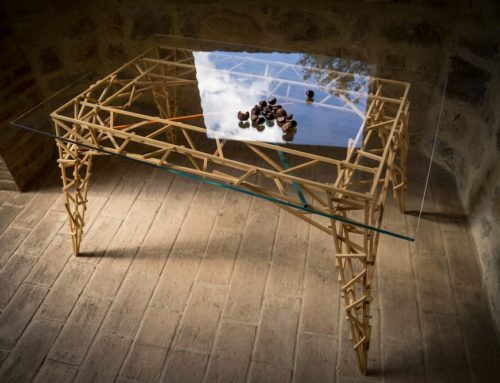 Handcrafted wooden table, cristal top