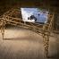tavolo artigianale in legno top vetro