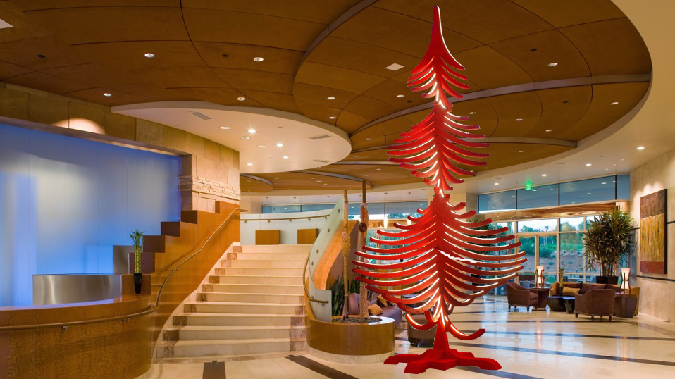 decorazione natalizia hotel albero di natale in legno